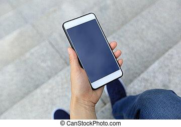 città, uso, smartphone, mani