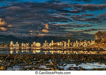 città, vancouver, shoreline, centro, riflessione