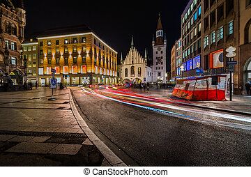 città, vecchio, baviera, marienplatz, monaco, germania,...