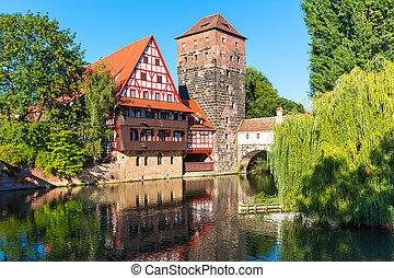 città, vecchio, germania, nuremberg