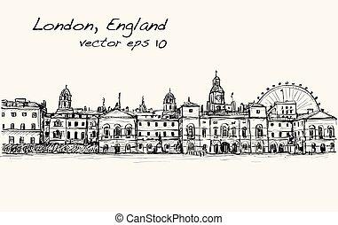 città, vecchio, mostra, inghilterra, illustrazione, londra, vettore, scape, castello, disegno, carosello