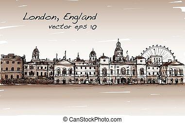 città, vecchio, mostra, tono, sepia, inghilterra, illustrazione, londra, vettore, carosello, scape, castello, disegno