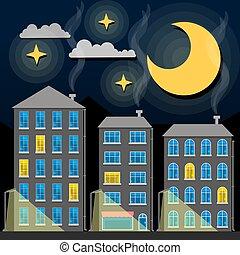 città, vecchio, sky., orizzonte, illustrazione, silhouette., tradizionale, tetti, vettore, notte, crepuscolo, cartone animato