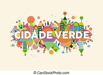 città, verde, lingua, illustrazione, portoghese