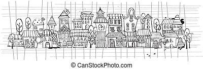 città, vettore, cartone animato, contorno