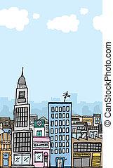 città, vettore, cartone animato, copyspace