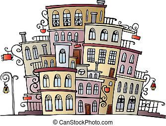 città, vettore, cartone animato, disegno