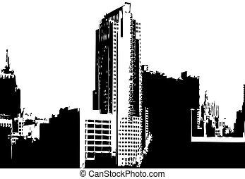 città, vettore, grafica