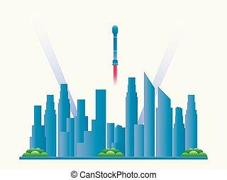 città, vettore, grattacieli, spaceships., illustrazione, futuro, paesaggio