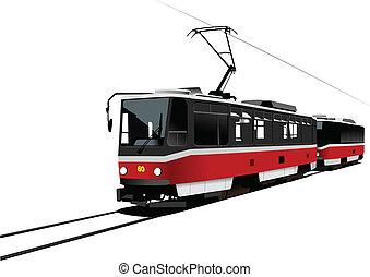 città, vettore, illus, transport., tram.