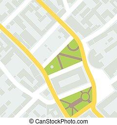 città, vettore, illustrazione, distretto, mappa