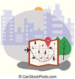 città, vettore, illustrazione, mappa