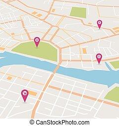 città, vettore, mappa