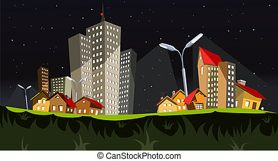 città, vettore, -, notte