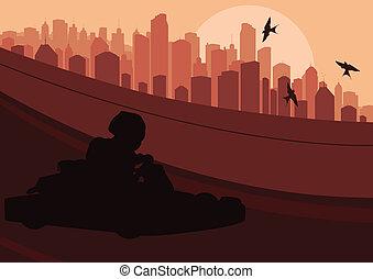 città, vettore, paesaggio, illustrazione