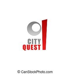 città, vettore, q, ricerca, lettera, icona