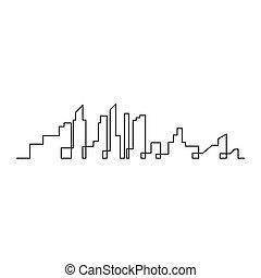 città, vettore, siluetta skyline