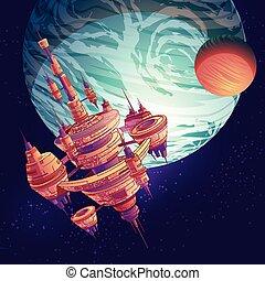 città, vettore, stazione spaziale, futuro, o, starship