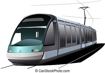 città, vettore, transport., illustrazione, tram.