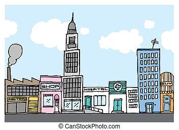 città, vicinato, colorare, /, vettore, cartone animato