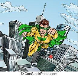 città, volare, superhero, scena