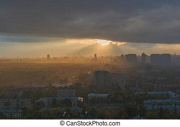 city., ουρανόs , δραματικός , πάνω