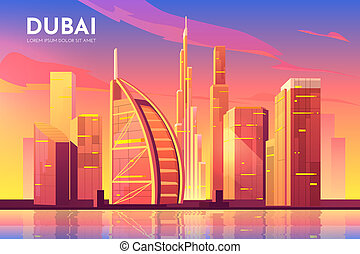 city., アラビア人, 合併した, ドバイ, uae, 管轄区域, 都市の景観