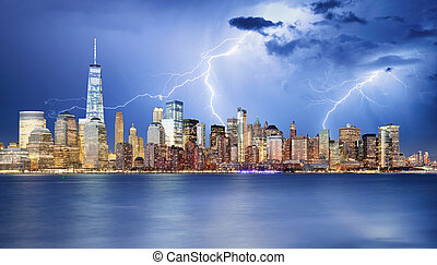 city., スカイライン, ヨーク, 新しい, 夜, マンハッタン