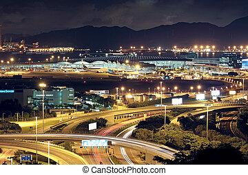 city., ライト, 自動車, 現代, 高速道路, 夜