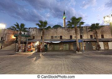 city(, 古い, ), モスク, また, akko, ギャル, 西部, エーカー, al-jazzar