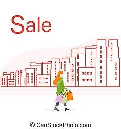 city., 大きい, concept., セール, 女, 買い物
