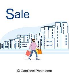 city., 大きい, concept., セール, 買い物, 人