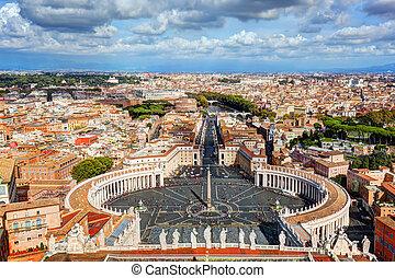 city., 広場, 広場, peter's, st. 。, ローマ, pietro, 背景, バチカン, ...