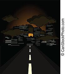 city., 指揮する, イラスト, ベクトル, 夜, 道