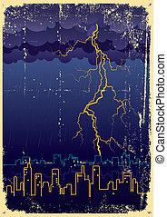 city., 雨, 攻撃する, 型, 大きい, 稲光