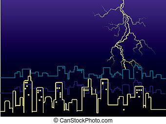 city., 雨, 攻撃する, 大きい, 稲光