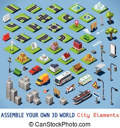 City 01 COMPLETE Set Isometric - City Map Elements COMPLETE...
