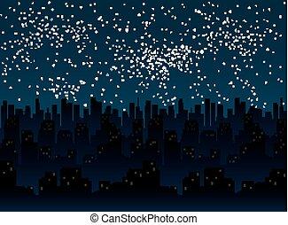 city., 10., sky., estrelado, eps, noturna, silueta