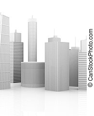 City - A symbolic city Illustration. 3D render. Skyscrapers...
