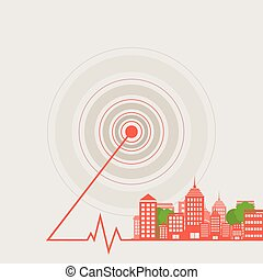 City a wave - Landscape of a city from epicentre. A vector...