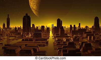 City alien, sunset and a huge moon