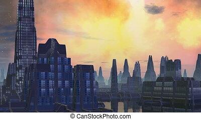 City aliens and bright nebula