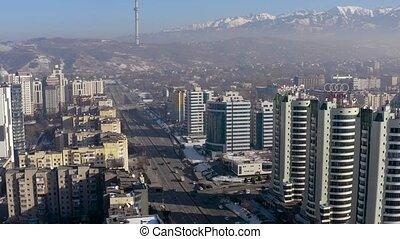City Almaty Al-Farabi avenue 4k - Flying with drone backward...