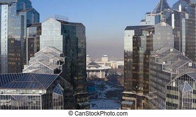 City Almaty Al-Farabi avenue business centre 4k - Flying...