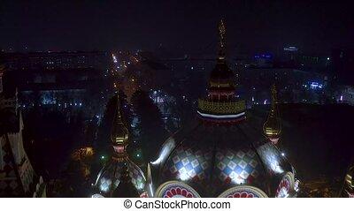 City Almaty night flight with drone above church 4k - Night...