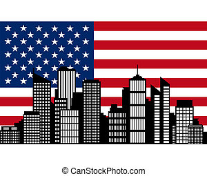 City and flag of USA