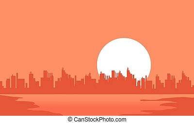 City and moon scenery silhouettes