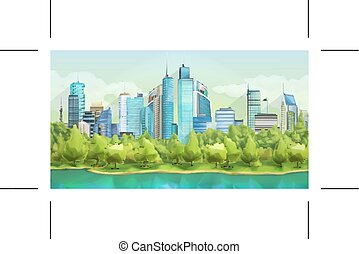City and nature landscape - City and nature, vector ...