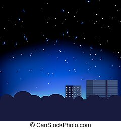 city and night stars