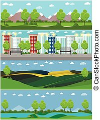 City and outdoor landscape. Vector illustration in flat style design. Countryside nature with tree, mountains, river